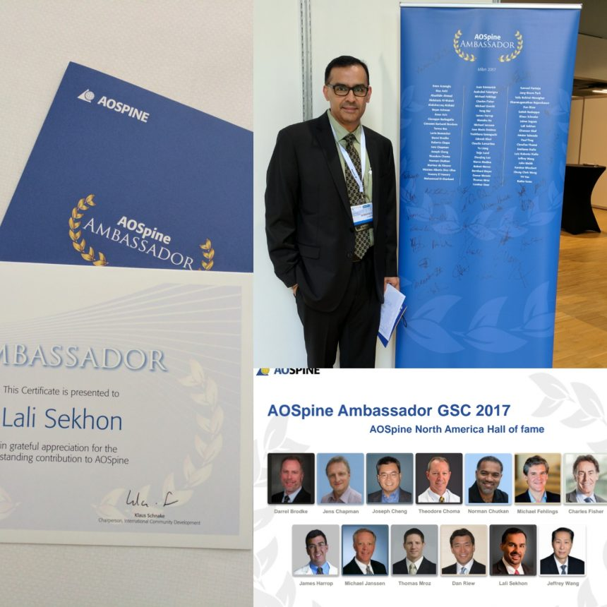 May 2017: Appointed AOSpine Ambassador, Global Spine Congress, Milan, Italy