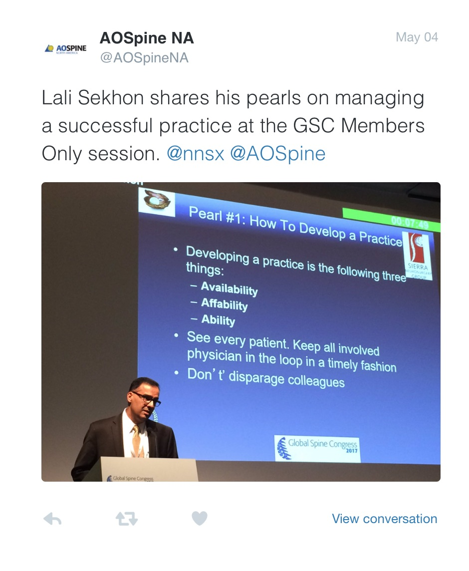 May 2017:  Speaking at the  Global Spine Congress, Milan, Italy