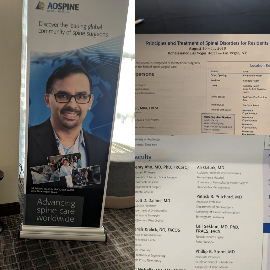 August 2018: Teaching at the AO Spine Residents and Fellows