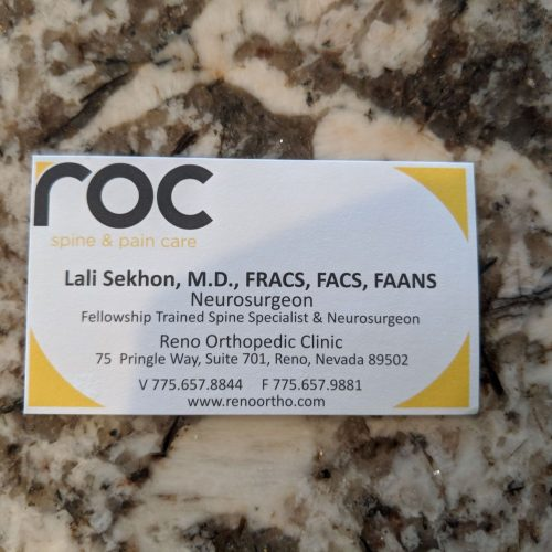 Oct 2019: Nevada Neurosurgery is looking forward to becoming part of an amazing organization, Reno Orthopedic Clinic. With over 25 physicians and 60 years in Reno, it will be our absolute privilege to provide spine care with and be a part of the ROC!