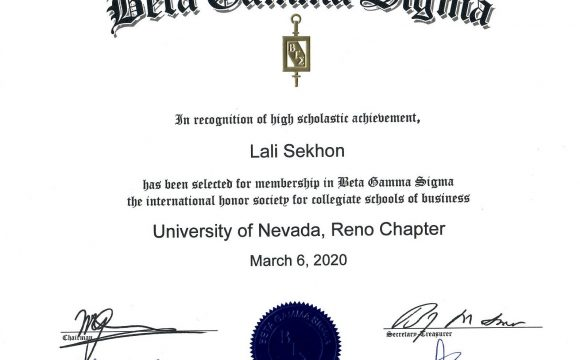 March 2020: Dr. Sekhon inducted into Beta Gamma Sigma for being a top performing scholar in one of the top 5% of busines schools in the country