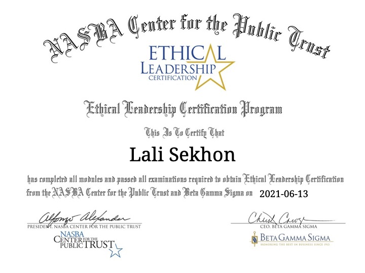 June 2020: Ethics Certification